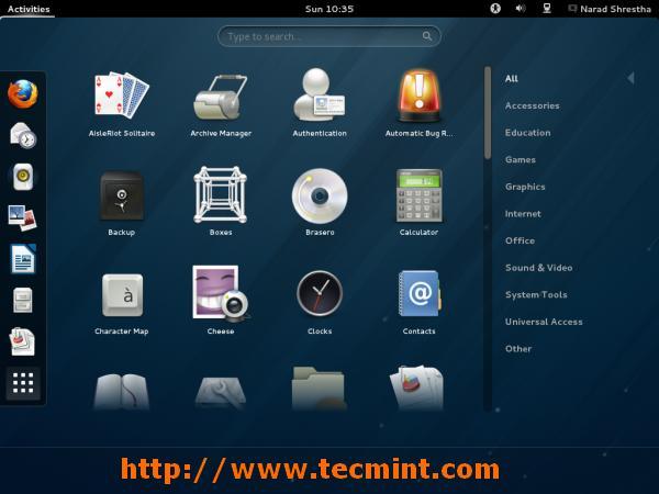 Fedora 18 Gnome 3.6 Desktop
