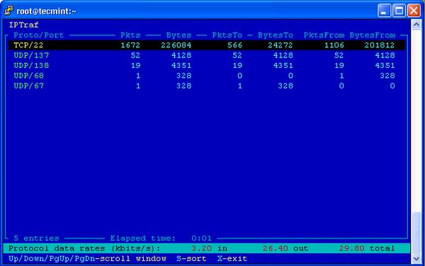 IPTraf TCP/UDP Monitoring