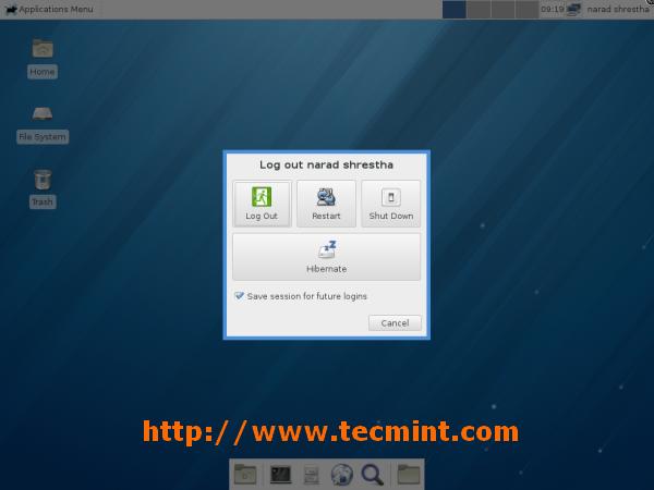 Logout from Fedora 18 Desktop