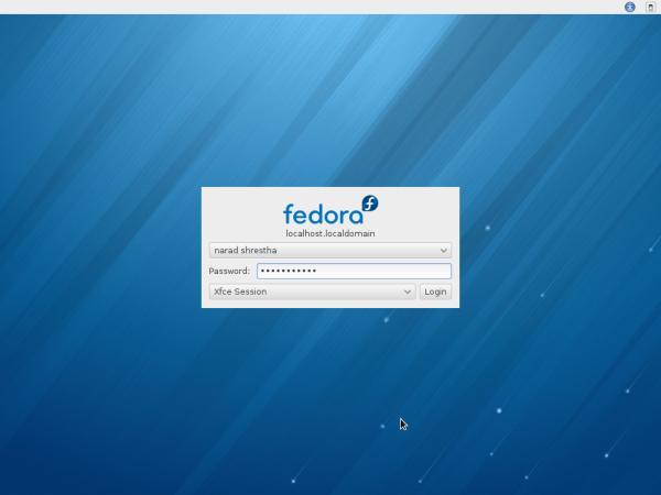 XFCE Desktop Login Screen