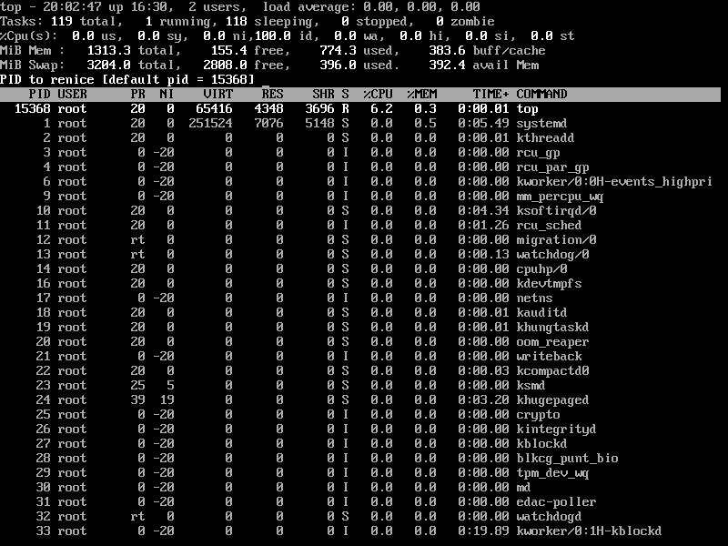Renice Linux Process