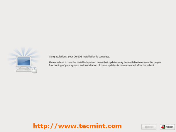 CentOS Installation Completed