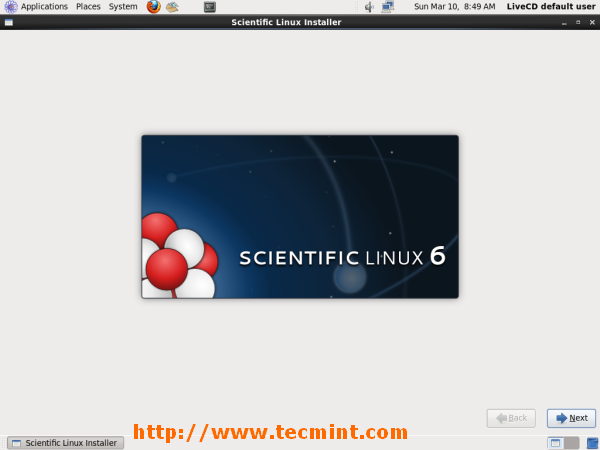 Welcome Screen of Scientific Linux