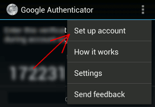 Google Authenticator Setup Account