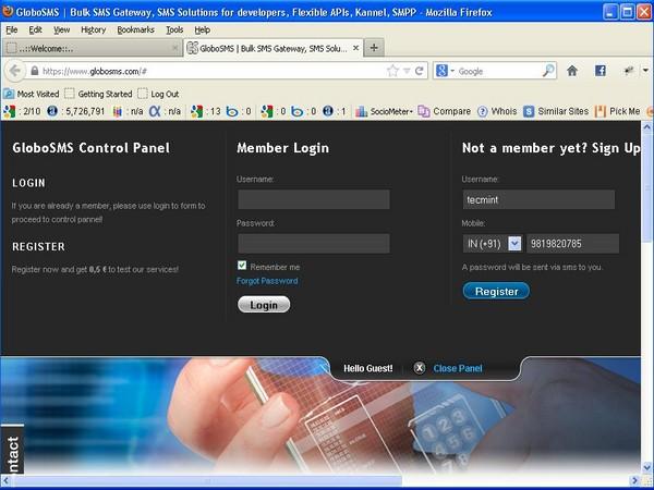 Register with GloboSMS