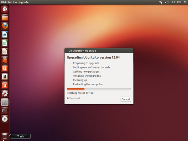 Upgrading Ubuntu to version 13.04.