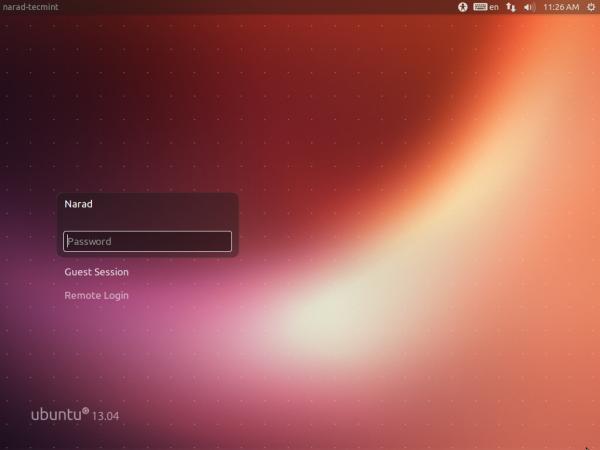Ubuntu 13.04 Login screen.
