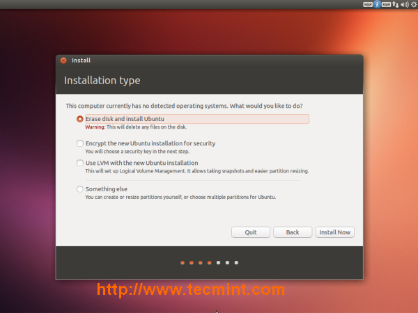 'Erase disk and install Ubuntu'