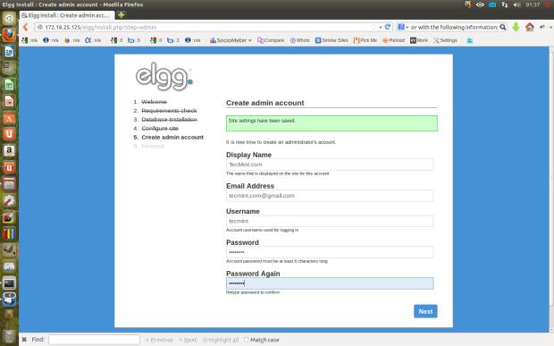 Elgg Create Admin Account