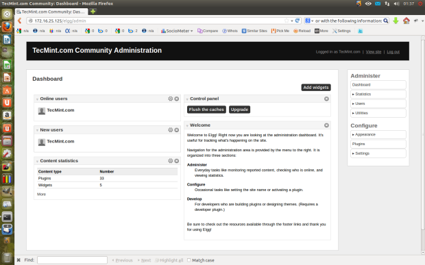 Elgg Admin Control Panel
