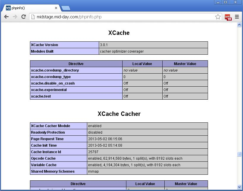 Install XCache for PHP