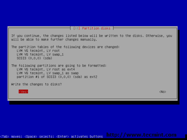 Debian 7.0 Confirm Partition Disks