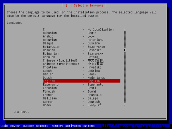 Debian 7.0 Language Selection