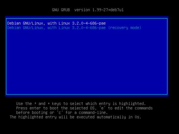 Debian 7.0 Booting Options