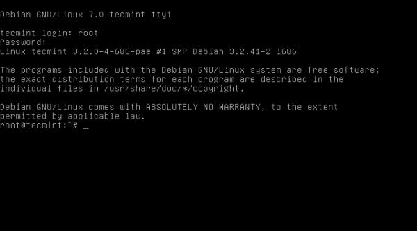 Debian 7.0 Login Screen