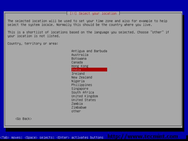 Debian 7.0 Location Selection