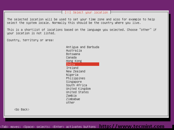 Ubuntu 13.04 Location Selection