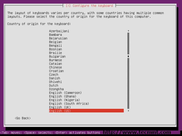 Ubuntu 13.04 Country Selection