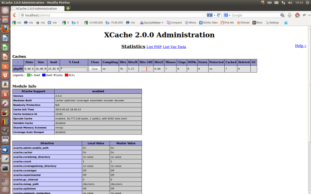 Install xcache admin