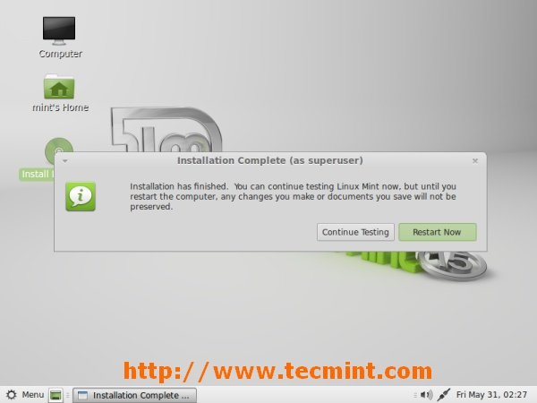 Linux Mint 15 Installation Completed