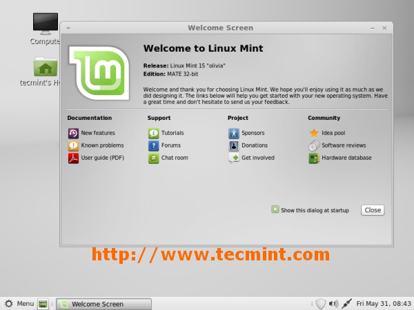Linux Mint 15 Desktop Screen