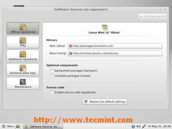 Linux Mint 15 Software Sources