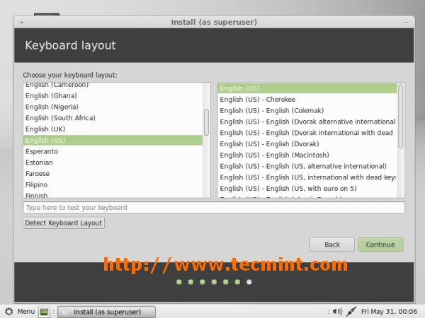Linux Mint 15 Keyboard Selection