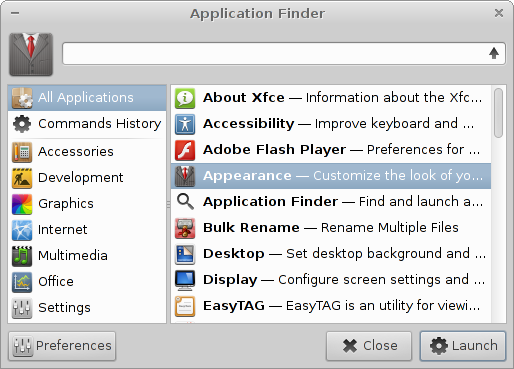 Xfce Application Finder