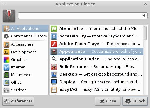 Xfce Application Finder