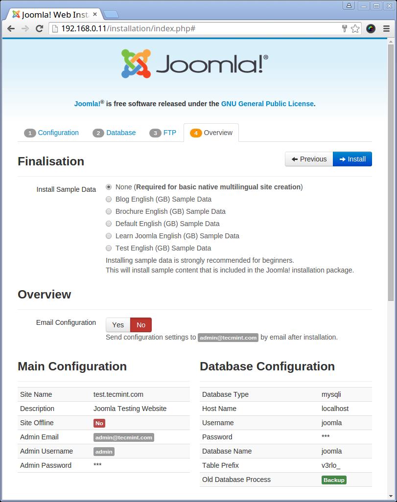 Install Joomla Data