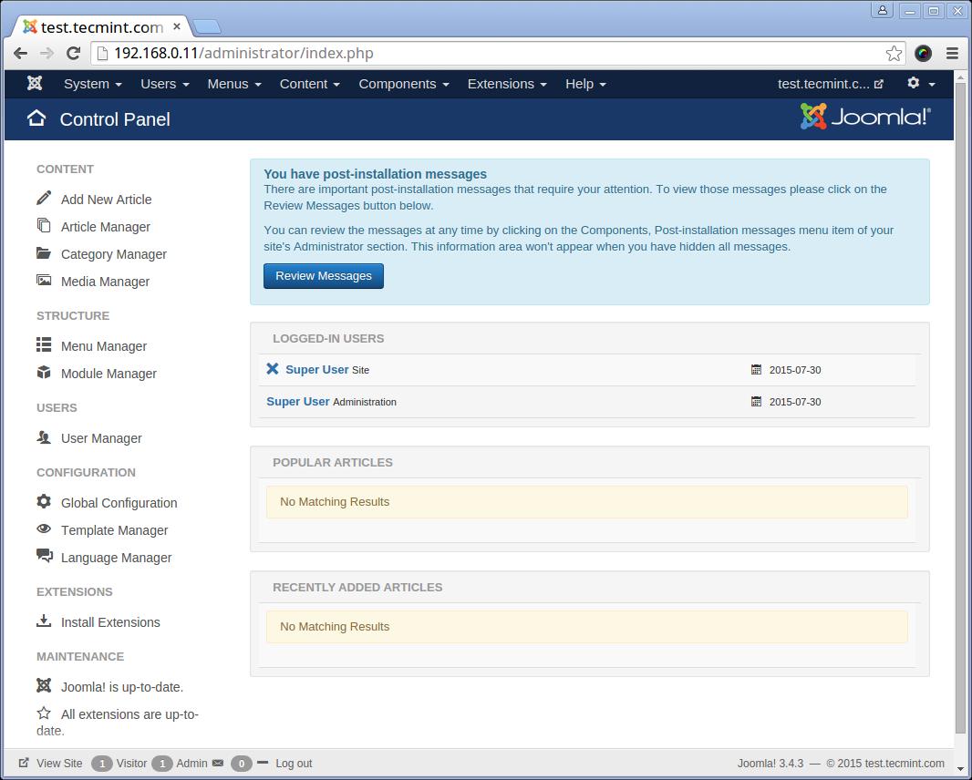 Joomla Admin Dashboard