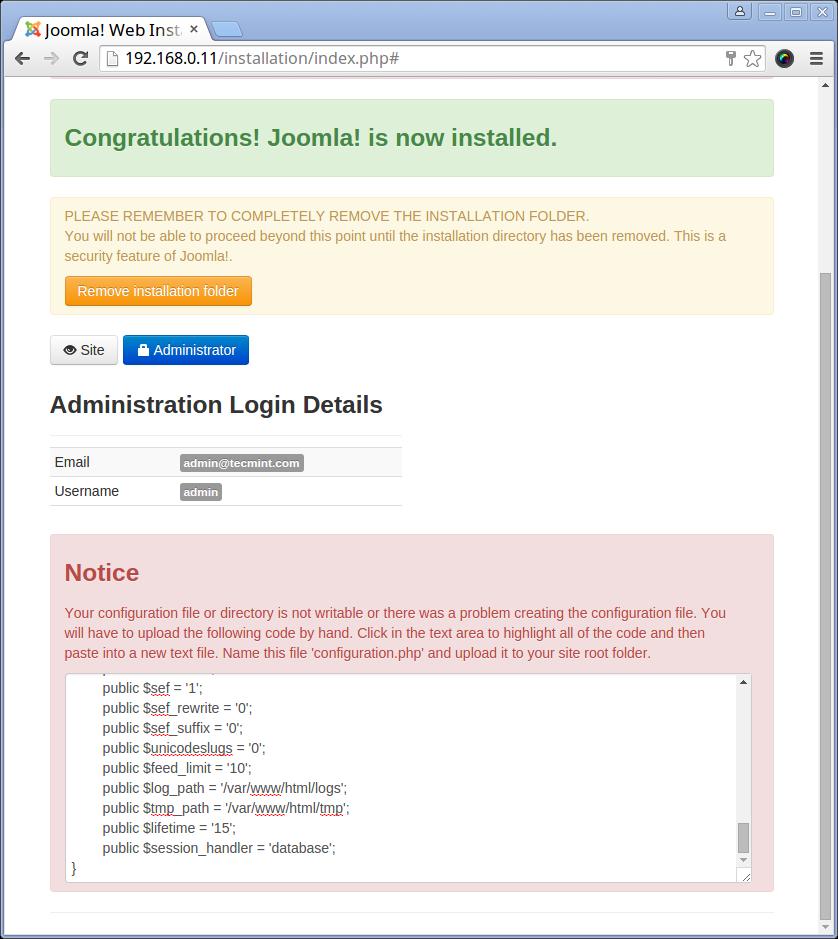 Joomla Configuration Code