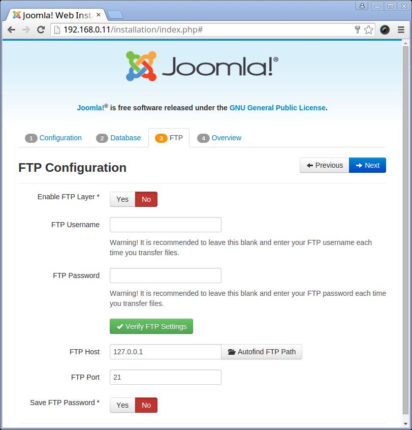 Joomla FTP Setup