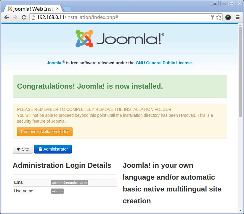 Joomla Installation Complete