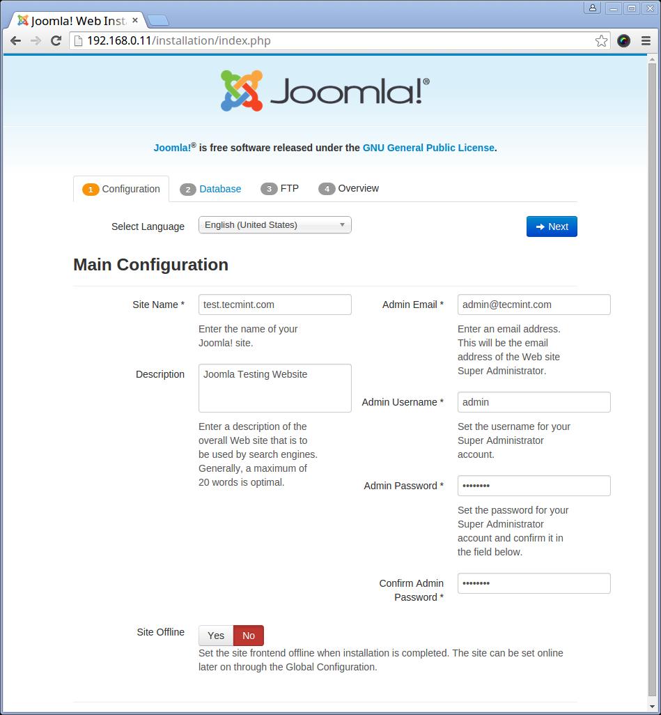 Joomla Site Setup