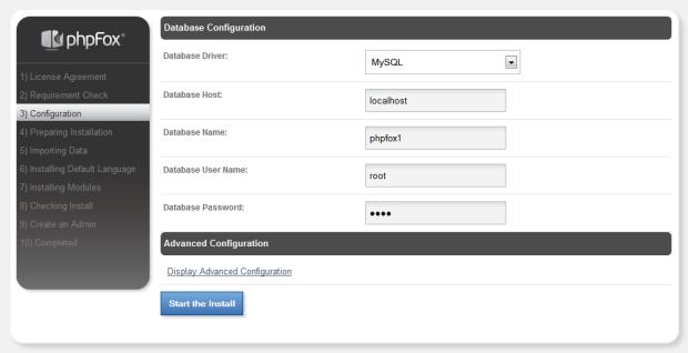 PHPFox Database Setting