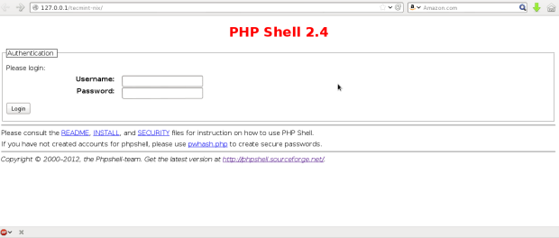 PHP Shell Login Screen