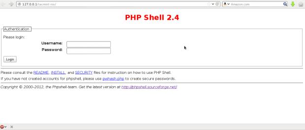 PHP Shell Login Screen