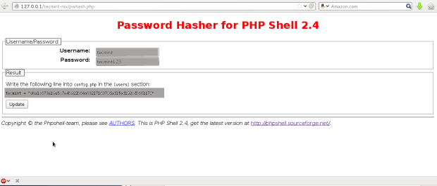 Set PHP Shell Password