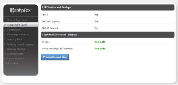 PHP Version Settings