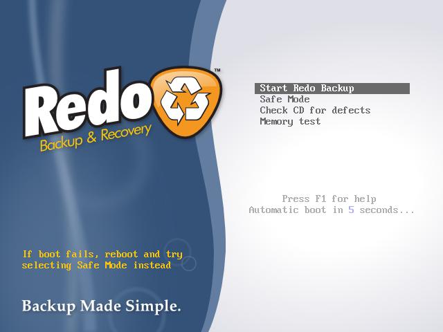 Redo Backup Boot Screen