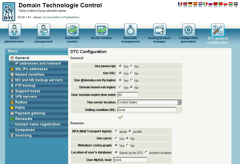 Хостинг-панель domain technologie control установка по какой тематике лучше сделать сайт