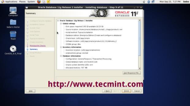 Oracle Installation Summary