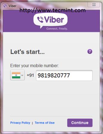Viber - Enter Mobile Number