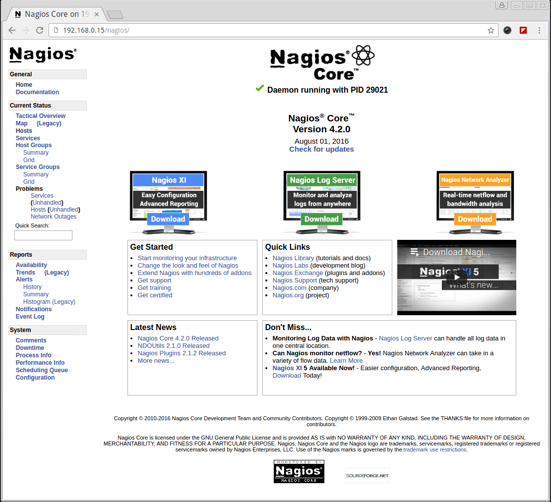 Nagios Core 4.2.0 Running on CentOS 7.2