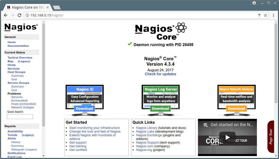 Nagios Core Running on CentOS 7.2