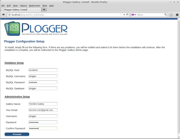 Plogger Database Settings