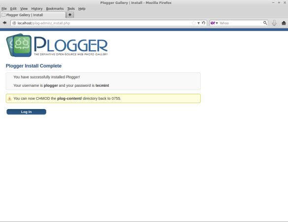 Plogger Installation Completes