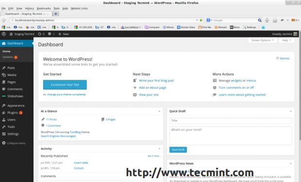 WordPress 8 Dashboard