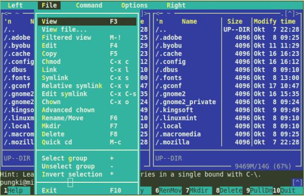 Linux File Menu